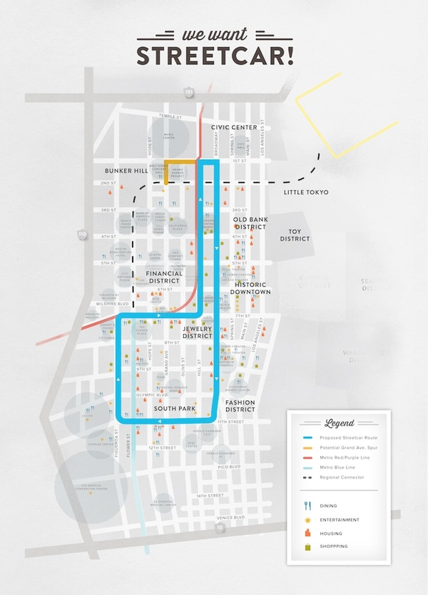 A map of the proposed LA Streetcar route. (Courtesy of Los Angeles Streetcar, Inc.)