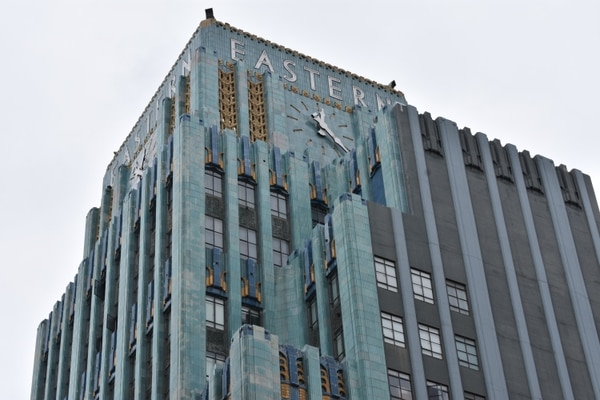 The Eastern Columbia building at 849 S. Broadway was originally a department store with 11 floors of showrooms. The conservancy calls it one of the most recognizable Art Deco buildings in the city. It is an L.A. Historic-Cultural Monument and is listed on the National Register of Historic places. Today, it is a luxury condominium residence. (Photo by Rachel Parsons)