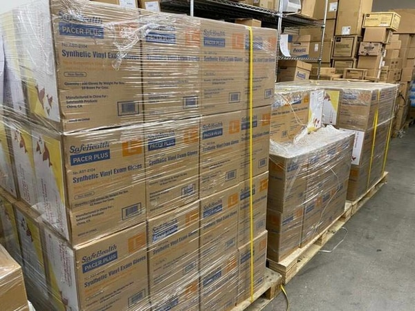 The donation of 150 cases of synthetic vinyl exam gloves from USC Chinese parent group arrived at Keck. These are in total of 150,000 disposable gloves in these cases (Photo courtesy of USC Chinese parent group)
