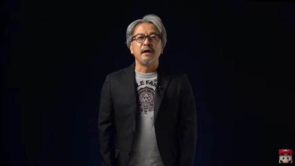 Eiji Aonuma standing against a black screen at Nintendo Direct 2021 to say there will be no new updates about Breath of the Wild 2. (Screenshot from Nintendo Direct's presentation)