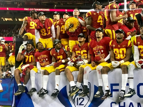 USC celebrating their win over Stanford in the Pac-12 Championship. (Jodee Storm Sullivan, Annenberg Media)