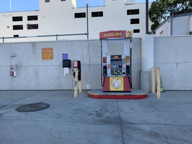 A photo of the USC gas pump at the USC fuel station on on the corner of 35th Street and Grand Avenue.