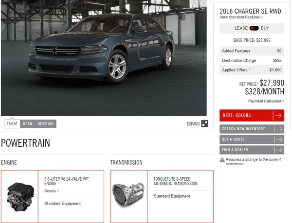 Screencapture from Dodge's website.