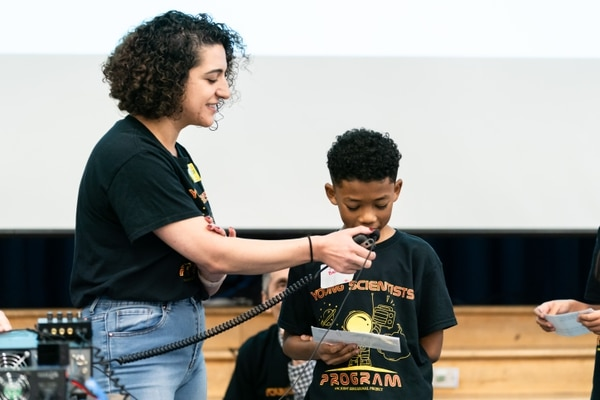 Jayden Baldwin was one of the students at Vermont Avenue Elementary School who had the opportunity to ask a question to an astronaut. (Photo by Ling Luo)