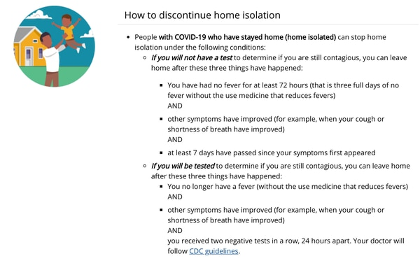 (People with COVID-19 can discontinue home isolation under these guidelines provided by the CDC.)