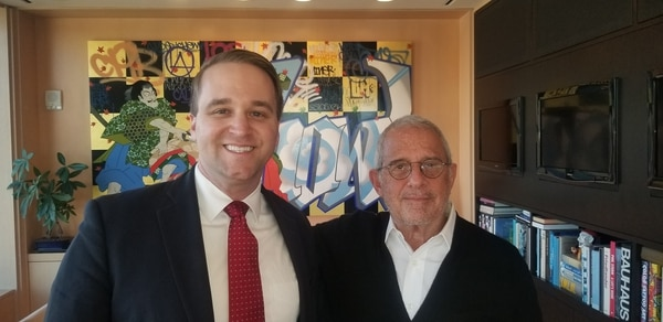 Ron Meyer with reporter, Joel Searls at NBCUniversal. (Photo courtesy of: Joel Searls)
