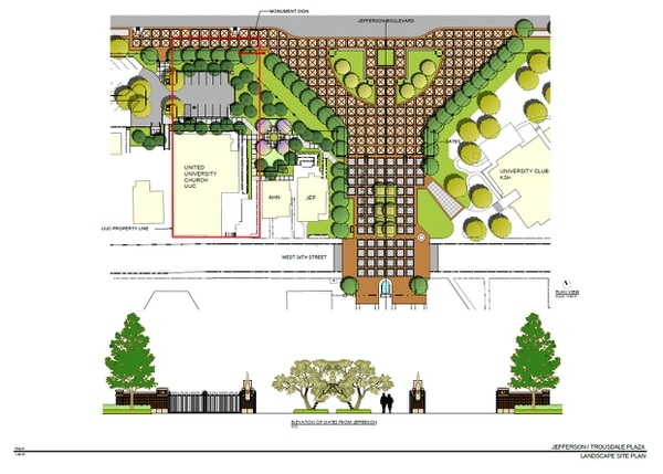 A computer rendering of the coming changes to the north Trousdale entrance, provided by USC Facilities Management, shows plans for greenery and brick walkways among other features. (USC Facilities Management Services)