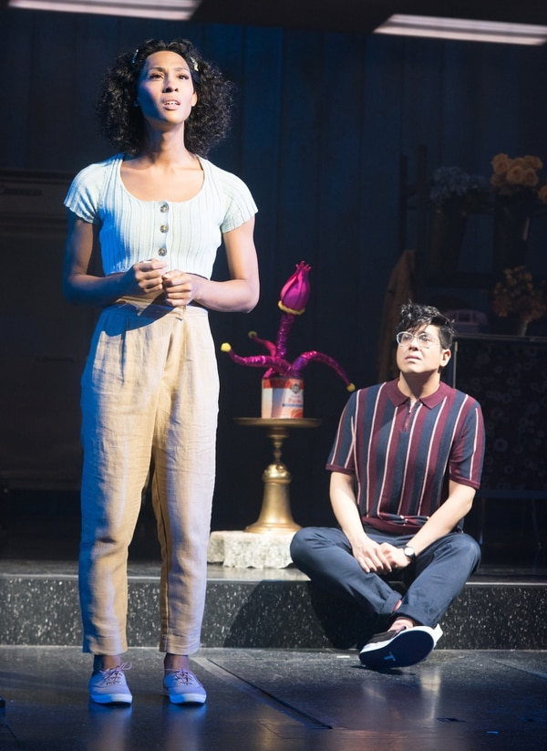 "Mj Rodriguez (""Audrey"") and George Salazar (""Seymour"") in Little Shop of Horrors. (Photo by Jenny Graham/Pasadena Playhouse)"