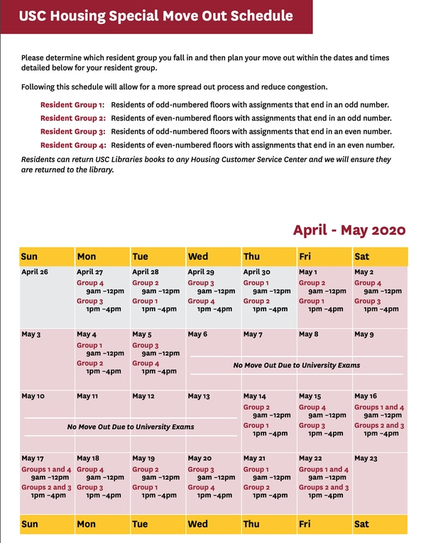Calendar for retrieval of belongings provided by USC Housing.