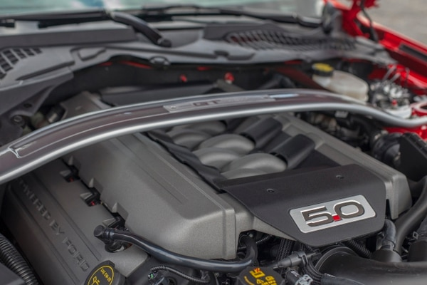 "The GT's signature trademark- the 5.0L V8 living under the hood. (Amou ""Joe"" Seto/USC Annenberg Media)"