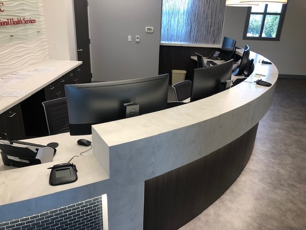 The new floor features a desk for reception, where students will check in and schedule future appointments.
