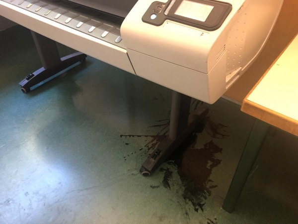 A plotter in the second-year students' studio. Wang said the ink spilled long time ago. (Photo courtesy to Olivia Yin)