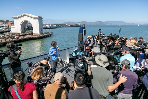 Boyan Slat speaks to reporters in San Francisco on the September launch date. Photo courtesy of the Ocean Cleanup Media.
