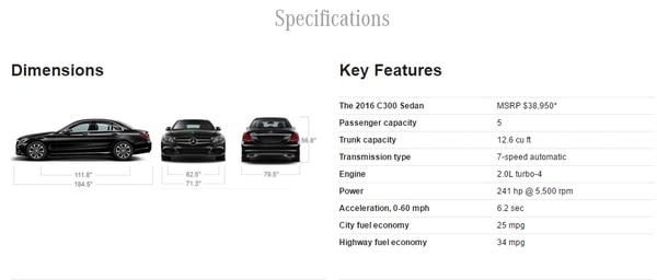 Screencapture from Mercedes-Benz's website.
