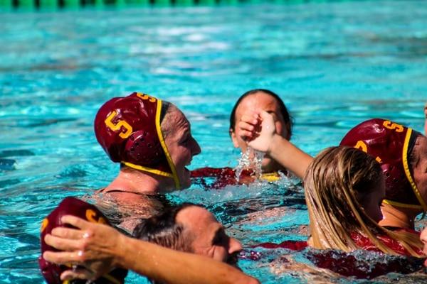 Paige Hauschild celebrates with her teammates. (Jodee Storm Sullivan/Annenberg Media)