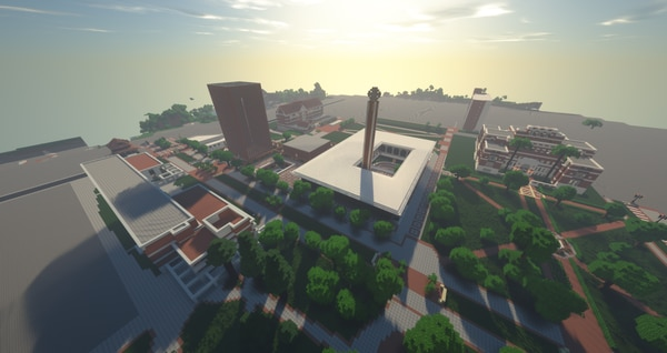 USC's Minecraft campus under construction