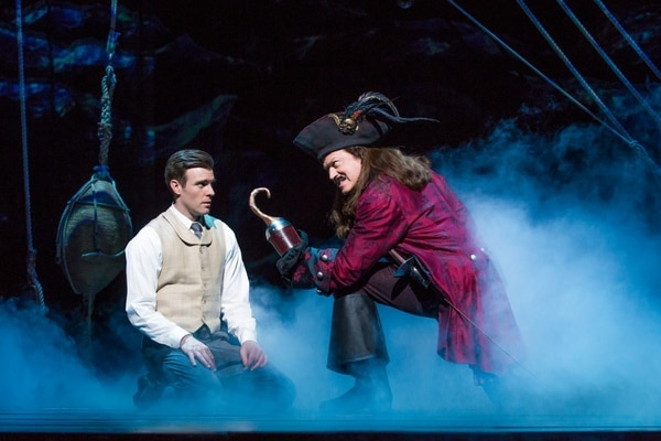 Billy Harrigan Tighe as J.M. Barrie and Tom Hewitt as Captain Hook (Photo by Jeremy Daniel)