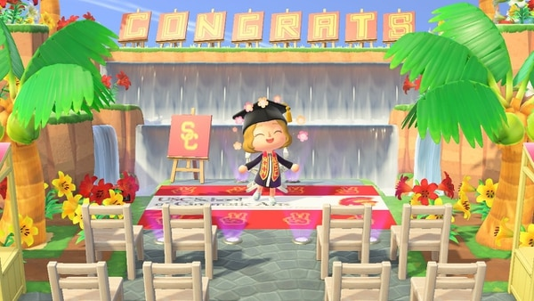 Players can create custom designs for outfits and banners, bringing a bit of style to a virtual graduation. This is from a fellow USC student's island and the sash dress was a custom design. (Photo courtesy of Jessica Doherty).
