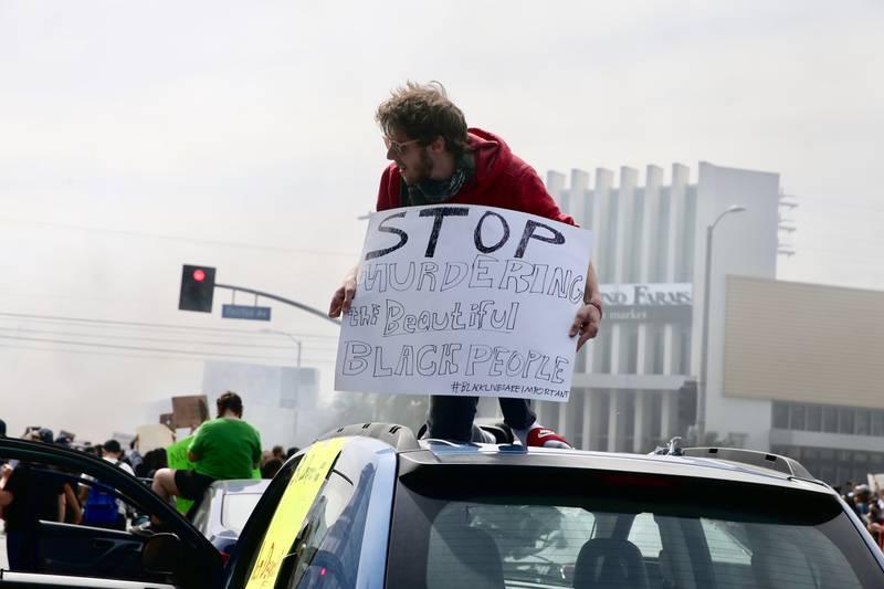 Photo of protestors in Los Angeles following the murder of George Floyd.