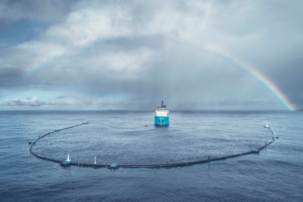 System 001 in the open ocean. Photo Courtesy of the Ocean Cleanup Media Gallery