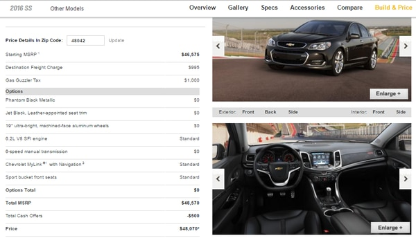 Screencapture from Chevrolet's website.