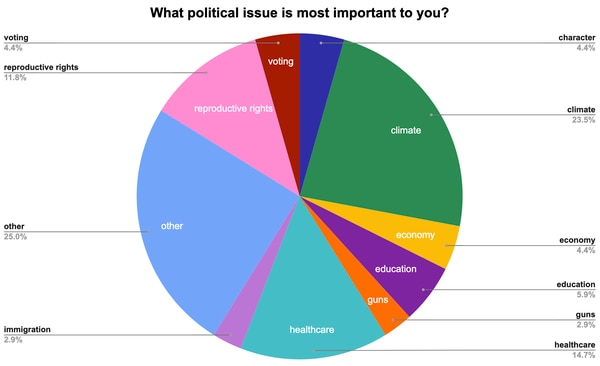 Issues most important to the women surveyed include climate change, healthcare, and reproductive rights. (Graphic by Julia Cherner)