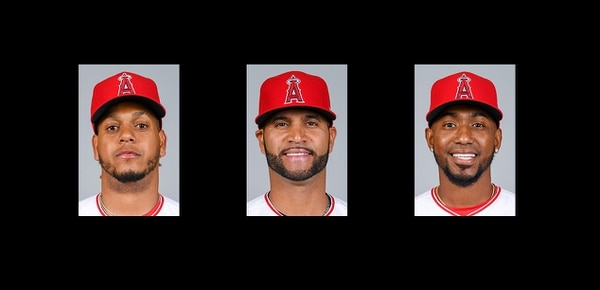 From left to right are Latinx players from the Los Angeles Angels baseball team: Félix Peña, Albert Pujols, and Julio Teherán (Courtesy: MLB)