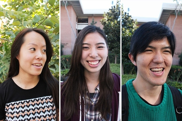 Left to right: Japanese USC students Reika Kijima, Asako Ito, and Hidehiko Goto. (Raz Nakhlawi / USC Annenberg Media)
