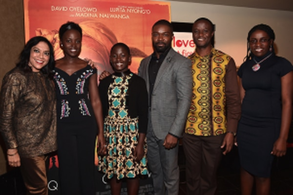 "L-R: Mira Nair, Lupita Nyong'o, Madina Nalwanga, David Oyelowo, Robert Katende and Phiona Mutesi at the ""Queen of Katwe"" screening and Q&A in Century City (Courtesy of Disney)."