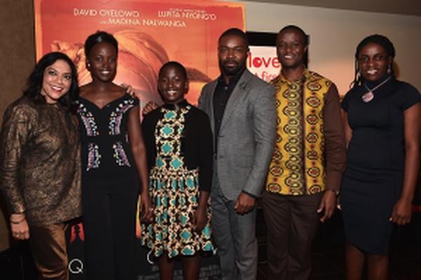 """L-R: Mira Nair, Lupita Nyong'o, Madina Nalwanga, David Oyelowo, Robert Katende and Phiona Mutesi at the """"Queen of Katwe"""" screening and Q&A in Century City (Courtesy of Disney)."""