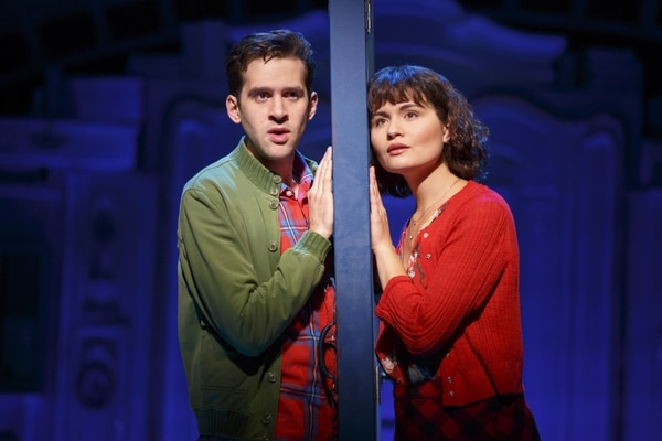 "Adam Chanler-Berat and Phillipa Soo in ""Amélie, A New Musical"" at Center Theatre Group/Ahmanson Theatre. (Photo by Joan Marcus)"