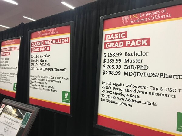 (Above are just some of the few grad pack options. Photo by Diana Postolache / USC Annenberg Media)