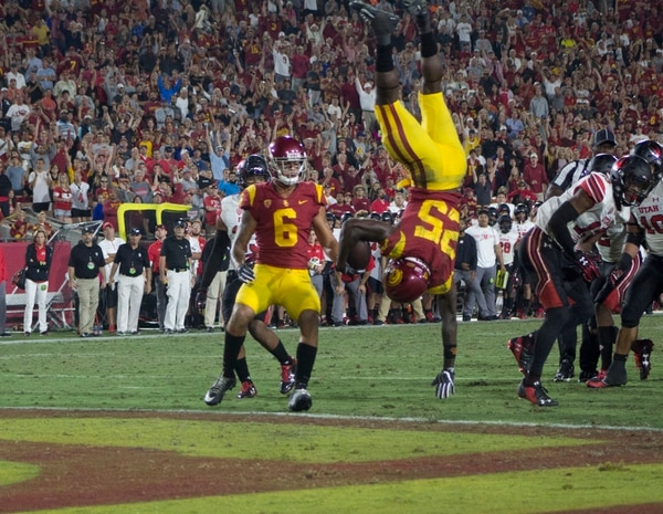 Ronald Jones II flipped in the end zone for a touchdown late in the fourth quarter. (Photo Credit: Sarah McGrew/Annenberg Media)