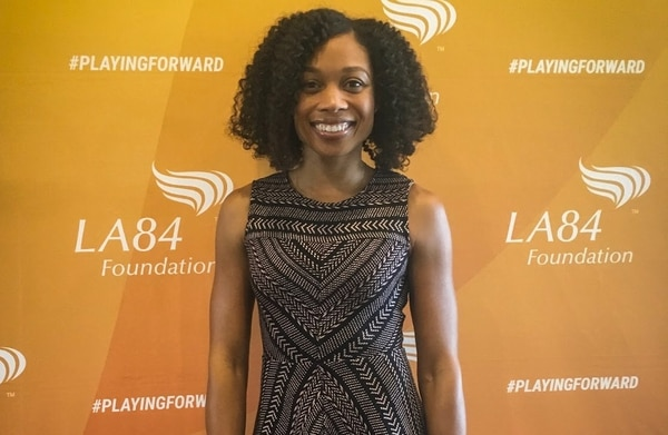 Allyson Felix spoke at the LA84 Summit in October about the importance of being involved in sports at a young age. (Annenberg Media/Nina Hernandez)
