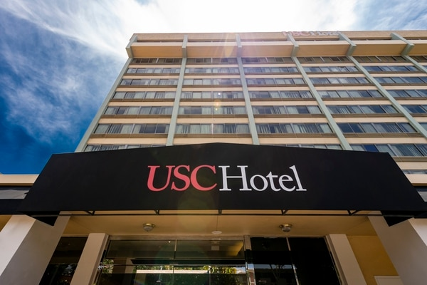 USC Hotel, located 3540 S Figueroa St, is across the street from the USC campus. (Photo courtesy of Gus Ruelas/USC News)