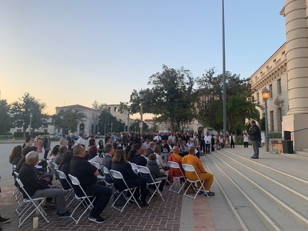 Religious leaders expressed condolences and recited prayers at the candlelight vigil on Monday, April 22, at Pasadena City Hall. (Photo by Jessica Flores)