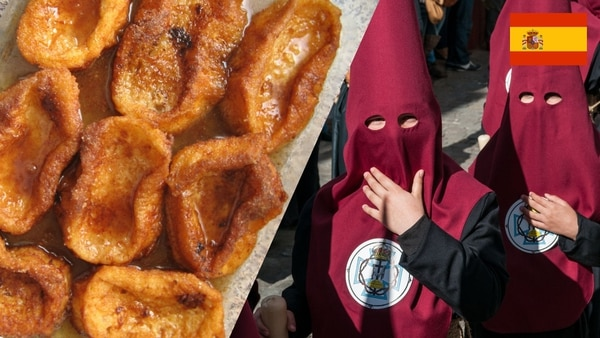 Spanish people consume torrijas, a dish made of sliced bread covered in other sweet foods, during la Semana Santa. In hermandades,, some of the most religious people put on religious hoods and robes and participate in religious processions. (Photo 1: