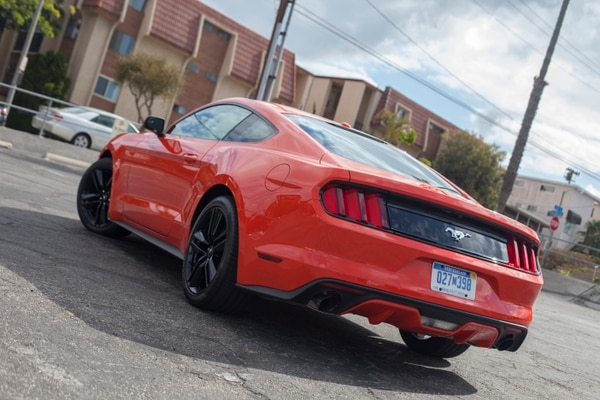 """Unlike the GT, the mustang's iconic galloping horse serves as the trunklid badge (Amou """"Joe"""" Seto/USC Annenberg Media)"""