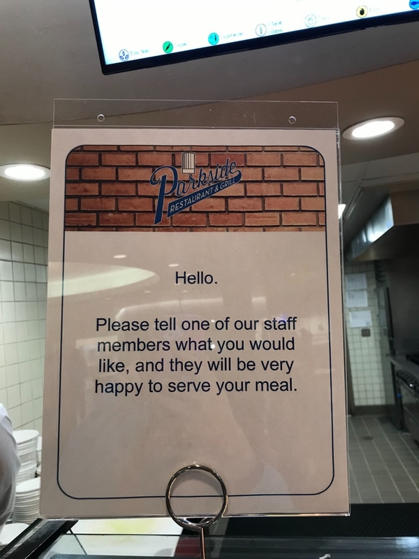 At Parkside Restaurant & Grill advised students to let other staff members serve them food.