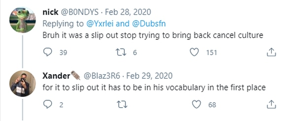 Two commenters under the video of the Dubs video (Twitter)