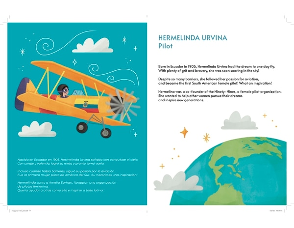Here is another sneak peek of Reynoso's book that features Latina pioneers such as Hermelinda Urvina who took to the sky as the first South American female pilot. (Courtesy of Con Todo Press)