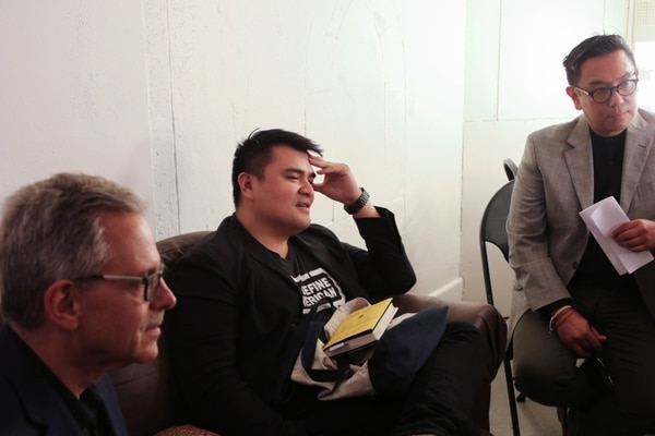 Vargas hangs out backstage prior to the event.