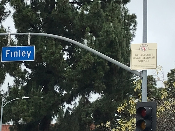 Signs honoring Marwah were placed on Finley and Vermont avenues. (Photo: Ranjit Bhatia)