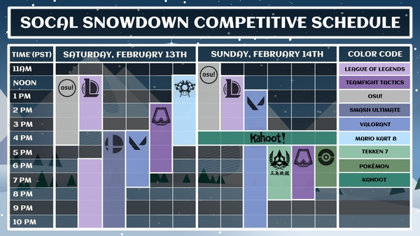 Competitive tournament schedule.