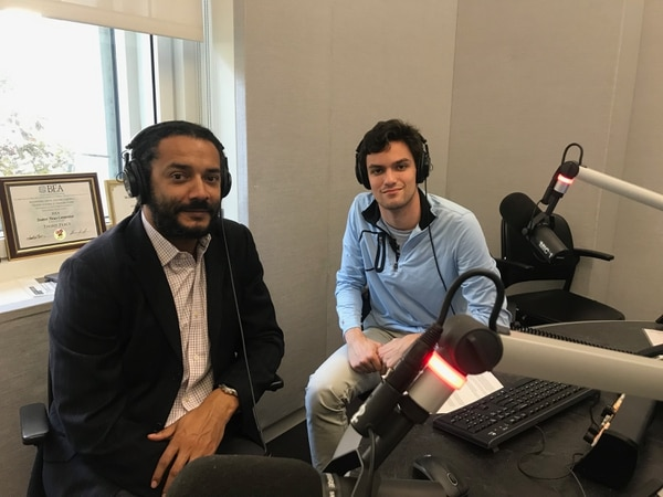 Professor Ben Carrington with Match Volume reporter Nicholas Berlet in Studio B at the USC Annenberg Media Center.
