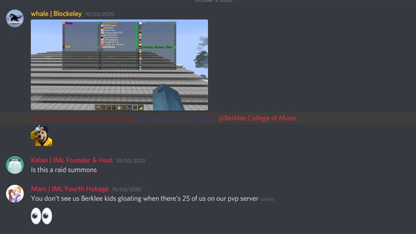 Screenshot of friendly competition over player-base from the IML Discord server.