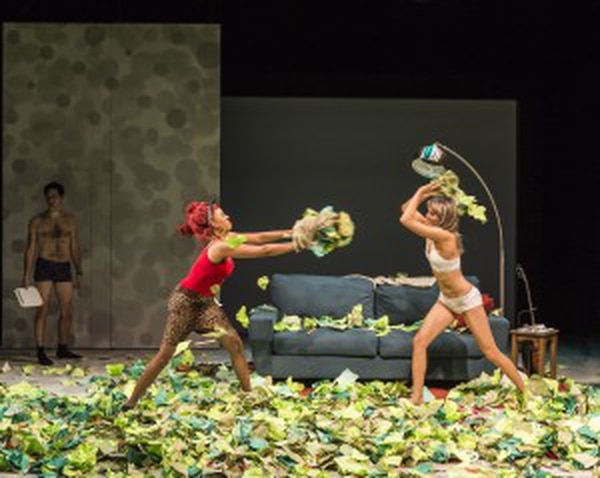 """Meredith (Dinora Z. Walcott) and Tori (Nora Kirkpatrick) fight it out in """"""""Women Laughing Alone With Salad."""""""" Photo by Craig Schwartz"""