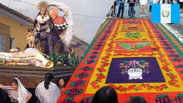 Guatemalans participate in a series of processions and create sawdust carpets in the streets, known as alfombras. These kinds of carpets are made of various materials. (Photo 1: