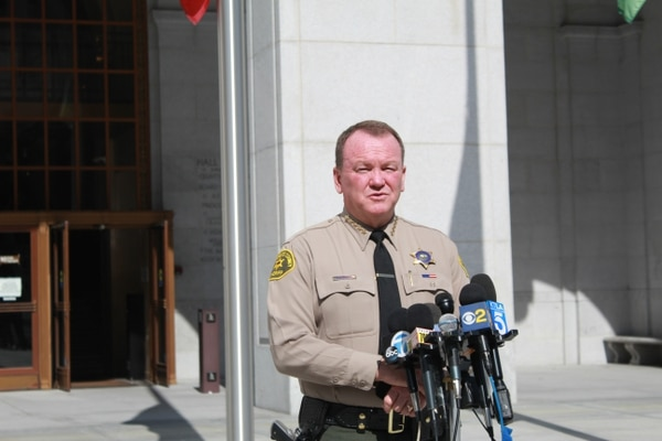 Sheriff Jim McDonnell spoke at the press conference on Monday.