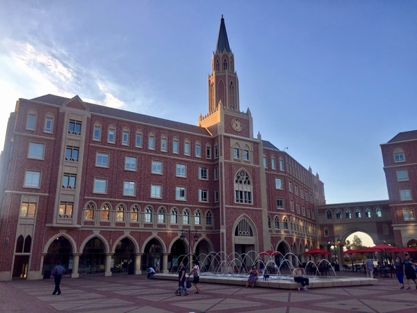 "USC Village reflects a ""historical-flash-forward"" approach to building design on campus. (Photo/Yijin Wang)"
